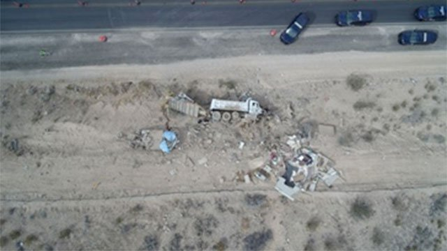 An aerial view shows the wreckage of a dump truck and RV crash on State Route 160 on Oct. 12, 2016. (Source: NHP)