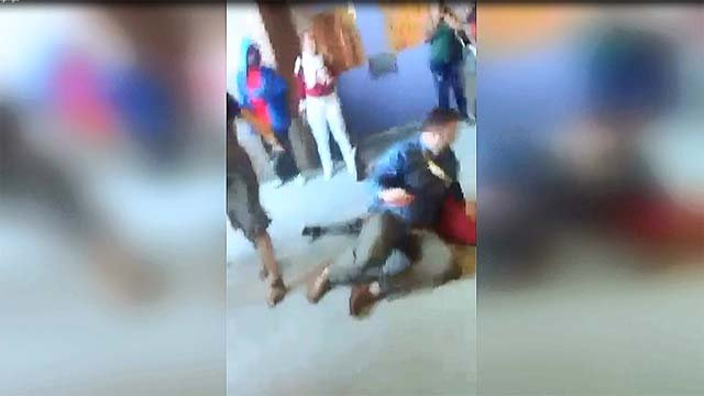 Video captured a school administrator throwing a girl to the ground during an altercation on Oct. 12, 2016. (Source: Lucenda Randle)