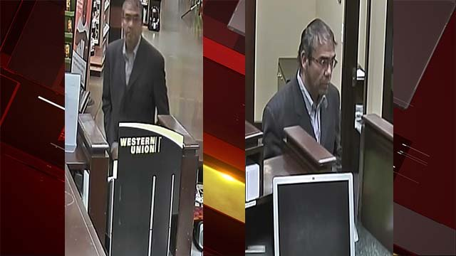 Surveillance stills of the man who robbed a bank located on West Charleston Boulevard in Las Vegas on Oct. 6, 2016. (Source: LVMPD)