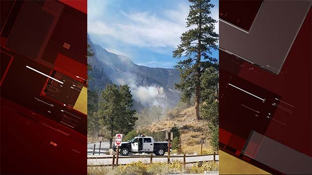 A police vehicle near a wildfire in the Mary Jane Falls area of Mount Charleston on Oct. 14, 2016. (Source: Sharon Cannon/Facebook)