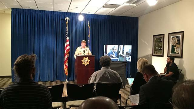Las Vegas Metro Undersheriff Kevin McMahill addresses the media concerning an officer-involved shooting that took place Oct. 12. (Source: Gai Phanalasy/FOX5)