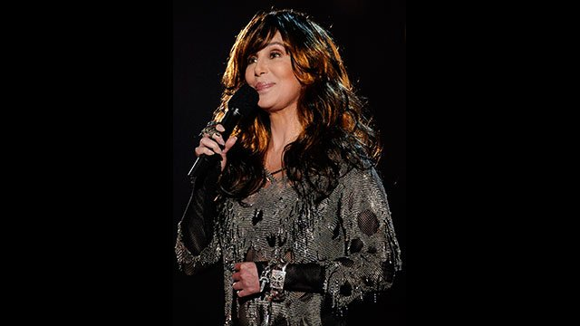 ** FILE ** In this Feb. 10, 2008 file photo, Cher is seen on stage at the 50th Annual Grammy Awards in Los Angeles. (AP Photo/Kevork Djansezian, file)