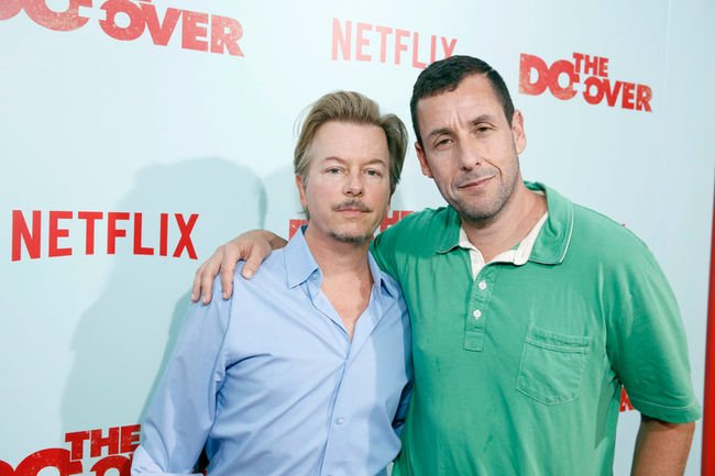 """David Spade and Producer/Actor Adam Sandler seen at Netflix Presents """"The Do-Over"""" Los Angeles Premiere at Regal Cinemas LA Live on Monday, May 16, 2016, in Los Angeles. (Photo by Steve Cohn/Invision for Netflix/AP Images)"""