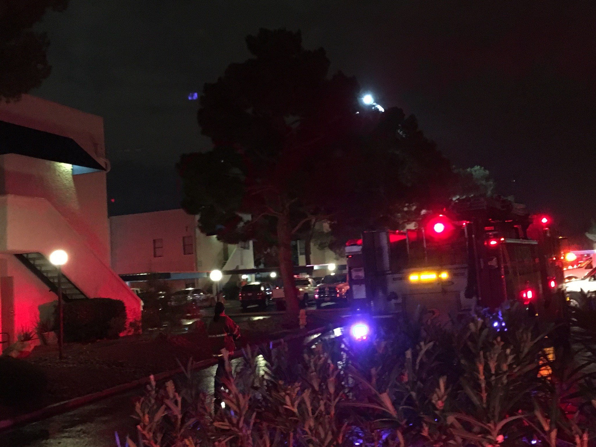 The Clark County Fire Department on the scene of a fire on Red Rock Street in Las Vegas on Oct. 23, 2016. (Source: FOX5 Vegas)