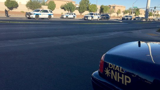 Nevada Highway Patrol investigates an officer-involved shooting on Oct. 19, 2016. (Source: NHP)