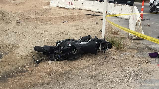 North Las Vegas police said a motorcyclist was killed in the area of East Azura Avenue and Donna Street on Oct. 27, 2016. (Source: Jason Westerhaus/FOX5)