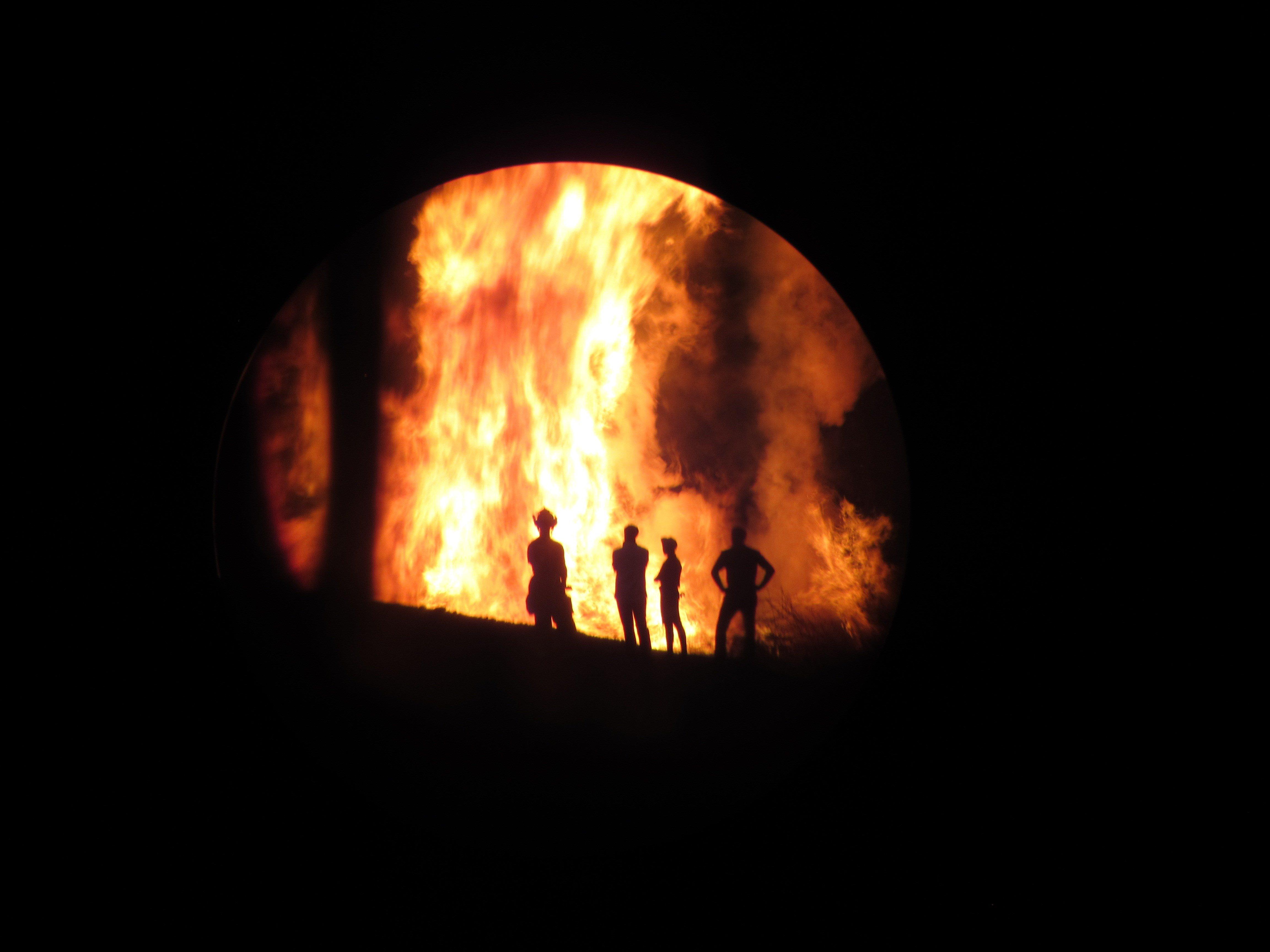 A trash fire burns in a ravine at Lake  Las Vegas on Oct. 28, 2016. (Source: Dalton Sheehan/FOX5 Report It)