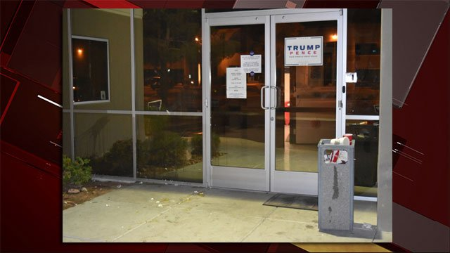 Vandals threw eggs at a Trump campaign office in Las Vegas. (Source: Mike Chamberlain)