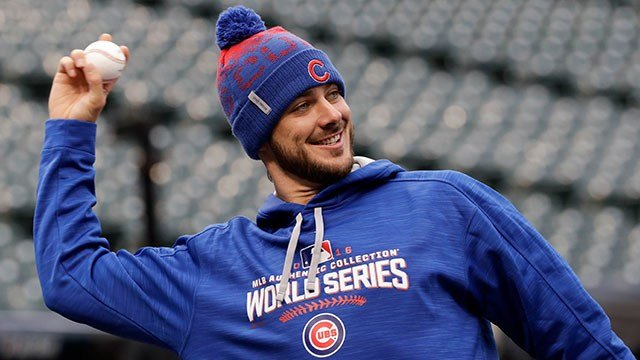 Chicago Cubs third baseman Kris Bryant warms up during a team practice for baseball's upcoming World Series against the Cleveland Indians on Monday, Oct. 24, 2016 in Cleveland.(AP Photo/David J. Phillip)