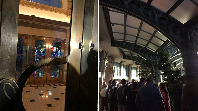 In the picture left, the front entrance of the Paris hotel illuminated after a day-long power outage on Nov. 3, 2016. Guests wait in line in the resort's valet area. (Cyndi Lundeberg/FOX5)