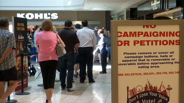 Voters waited in line at a polling place inside Galleria Mall in Henderson on the final day of the early vote period on Nov. 4, 2016. (Eric Hilt/FOX5)