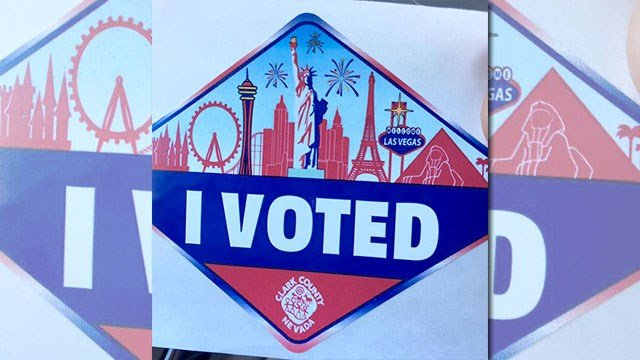 "A Clark County ""I Voted"" sticker, shown in this undated photo. (FOX5)"
