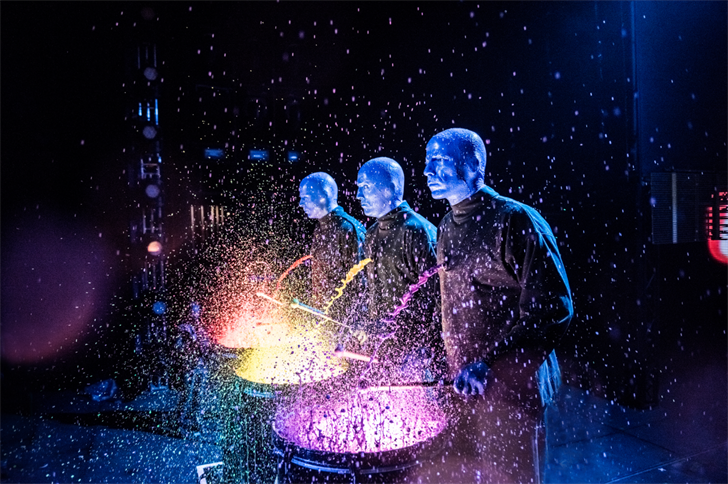 The Blue Man Group performs at a venue in an undated image. (Photo courtesy: Lindsey Best)