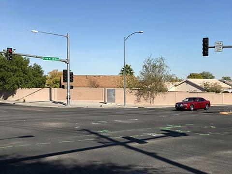 Lake Mead Boulevard and Simmons Street, where a crash happened on Nov. 9, 216. (SOURCE: FOX5 Vegas)