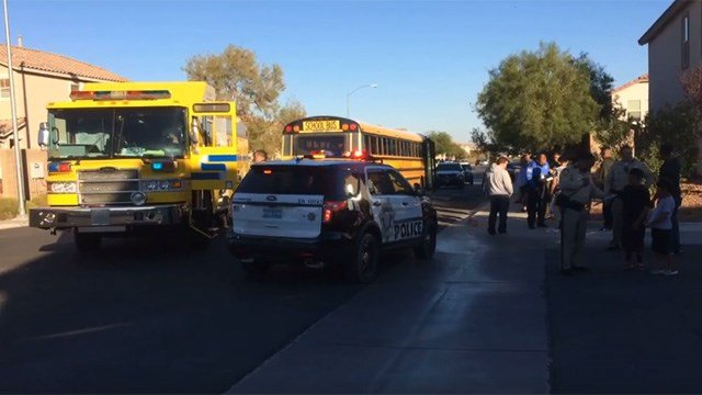 Police and Clark County Fire Dept. responded to a crash involving a bicyclist and a school bus in the southwest Las Vegas Valley on Nov. 10, 2016. (Source: David Berkowitz/Facebook)