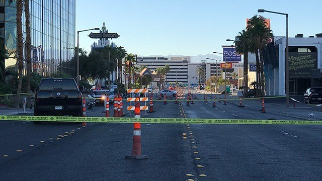 Police closed off a section of Convention Center Drive just east of the Las Vegas Strip after a crash involving a pedestrian on Nov. 14, 2016. (Gai Phanalasy/FOX5)