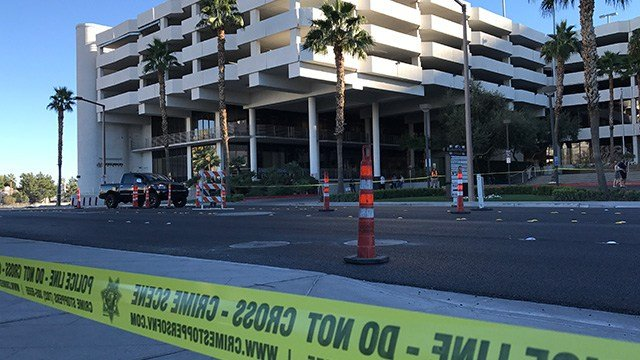 The crash involving the pedestrian took place on Convention Center Drive between Paradise Road and Las Vegas Boulevard on Nov. 14, 2016. (Gai Phanalasy/FOX5)