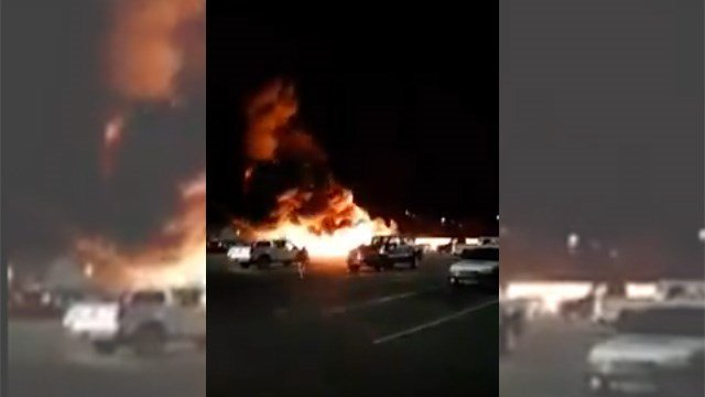 A screen capture of a video shows flames from an apparent plane crash in Elko, NV on Nov. 18, 2016. (Source: YouTube/FareezWorld)