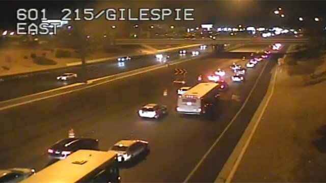 Vehicles on Interstate 215 eastbound toward McCarran Airport slowly traveled amid a closure of the freeway on Nov. 18, 2016. (Source: LVACS)