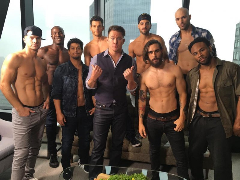 Channing Tatum poses some of the dancers of his 'Magic Mike Live' show