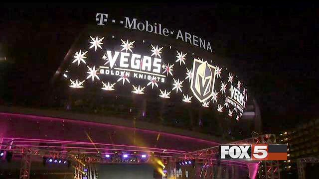 The outdoor marquee on the T-Mobile Arena displays the Vegas Golden Knights moniker and logo on Nov. 22, 2016. (FOX5)