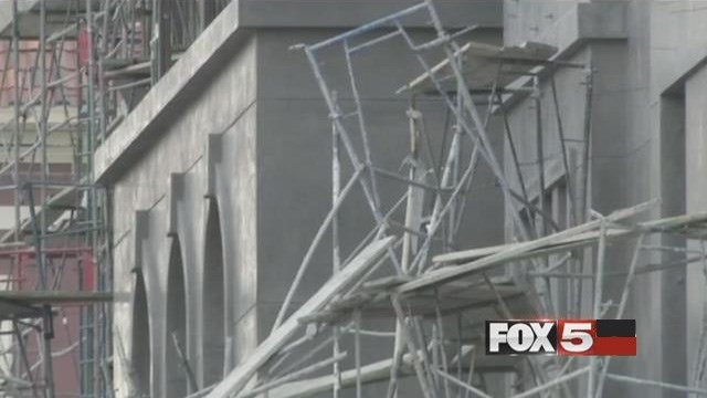 A scaffold is left mangled after a collapse at Tivoli Village on August 22, 2016. (FOX5)