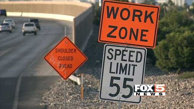Signage ahead of roadwork on a Las Vegas freeway. (File)