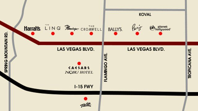 A map shows the Caesars properties in Las Vegas that would institute paid self and valet parking. (Source: Caesars Entertainment)