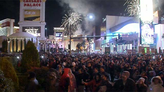 Visitors swarm the Las Vegas Strip to celebrate the new year. (File)