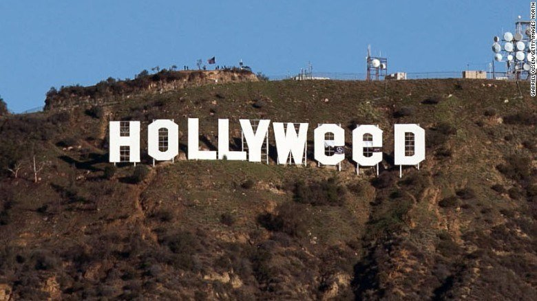 "The Hollywood sign was modified to read ""Hollyweed."""
