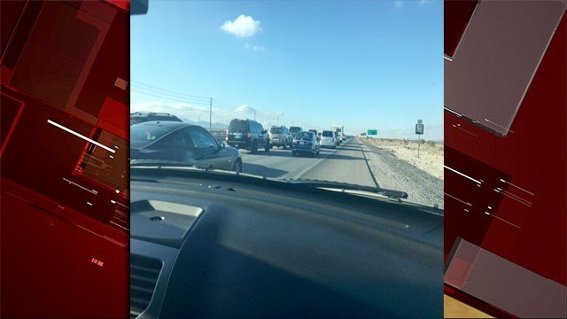 Nevada Highway Patrol shared the traffic congestion on Jan. 1, 2017. (NHPSouthernComm/Twitter)