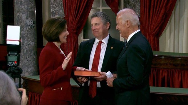 Sen. Catherine Cortez Masto, left, with her husband Paul, center, and Vice President Joe Biden during the new Nevada U.S. senator's swearing-in on Jan. 3, 2016. (Source: Cortez Masto's office)
