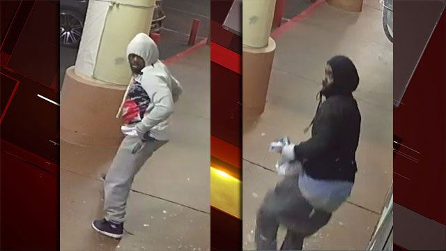 Police released images of a pair of robbery suspects. (Source:LVMPD)