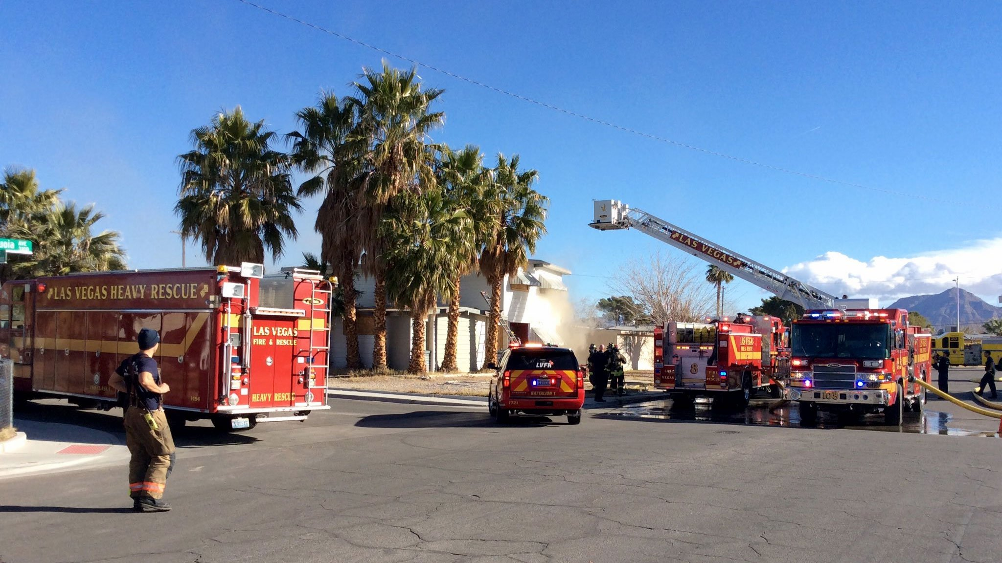 Firefighters at the scene of a vacant house fire on Sequoia Avenue on Jan. 11, 2016. (LasVegasFD/Twitter)