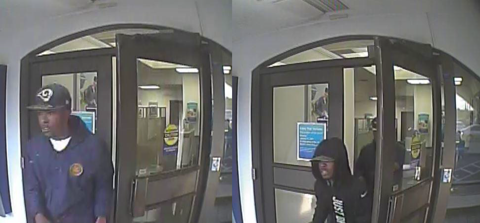 Police released the following photos of two bank robbery suspects (FOX5).