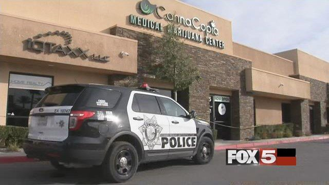 A Las Vegas Metro police vehicle is parked in front of a medical marijuana dispensary on South Rainbow Boulevard after an armed robbery on Jan. 18, 2017. (FOX5)