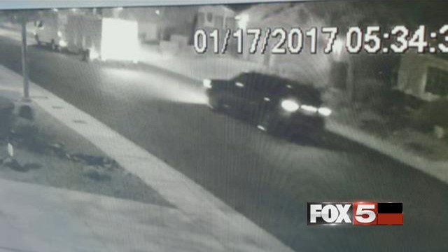 Video showing a black vehicle during the theft a trailer in North Las Vegas on Jan. 17, 2017. (FOX5)