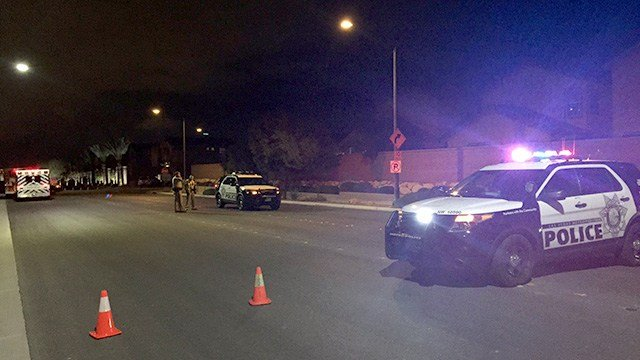 Police blocked off a street near a barricade call in the area of Deer Springs Way and Durango Drive on Jan. 18, 2017. (Eric Hilt/FOX5)