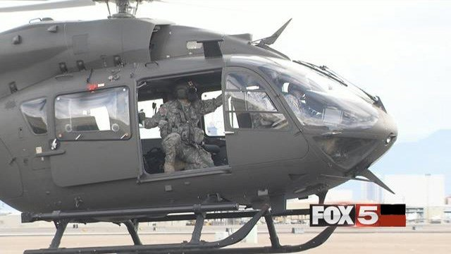 A helicopter takes part in a training exercise involving the Nevada National Guard. (FOX5)