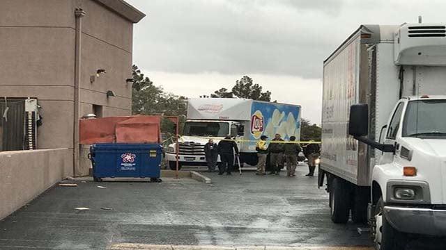 Police investigate a fatal collision behind a business near Tropicana Avenue and Jones Boulevard on Jan. 20, 2017. (Gai Phanalasy/FOX5)