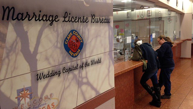 Clark County Marriage License Bureau issued its 10,000th same-sex marriage license on Jan. 20, 2017. (Roger Bryner/FOX5)