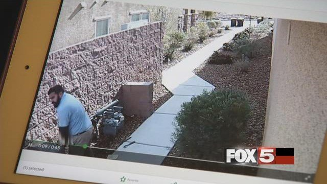 A video shows a gas worker urinating next to a home in Henderson. (FOX5)