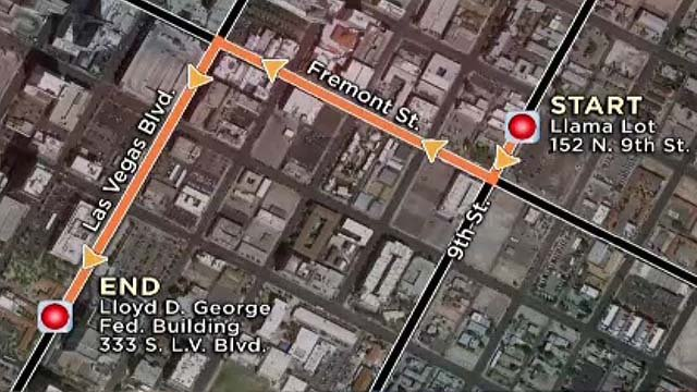 Screen shot of the proposed Women's March on Washington route in downtown Las Vegas for Jan. 21, 2017. (FOX5)