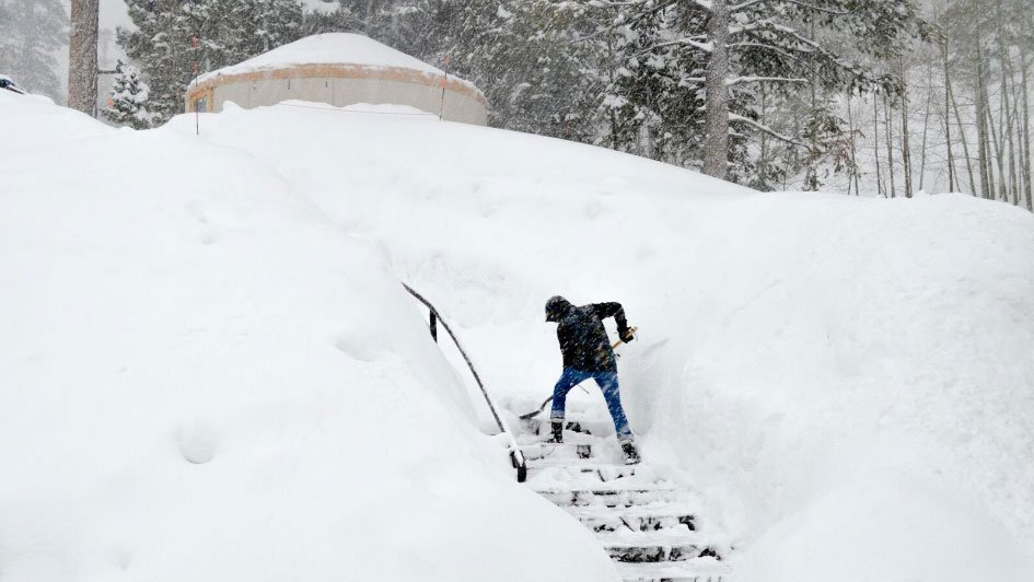 A person shovels snow at Lee Canyon. (Source: Jim Seely/Lee Canyon)