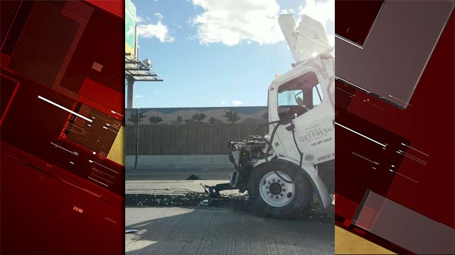 The front-end of the semi-truck shows extensive damage after crash. (FOX5)