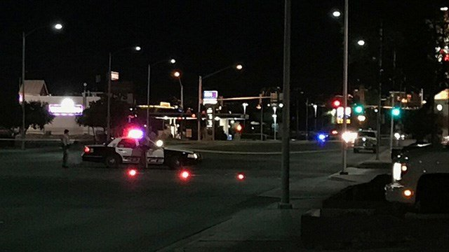 Police blocked off Lamb Boulevard and Bonanza Road amid an explosive device investigation on Jan. 25, 2017. (Jen Hurtado/FOX5)