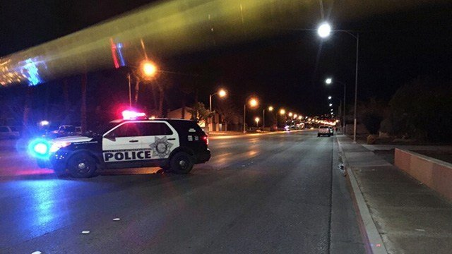 Police blocked Marion Drive near Nellis Boulevard after a pedestrian was struck by a vehicle on Jan. 23, 2017. (Austin Turner/FOX5)