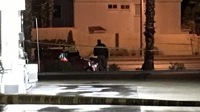 Police investigate a crash involving a pedestrian near Vegas Drive and Cimarron Road on Jan. 20, 2017. (Kurt Rempe/FOX5)