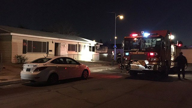 North Las Vegas Fire Department responded to a house fire near Simmons Avenue and Lake Mead Boulevard on Jan. 31, 2017. (Miguel Martinez-Valle/FOX5)