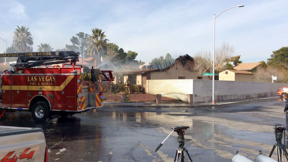 Crews respond to a house fire on Feb. 2, 2017. (Source: LasVegasFD/Twitter)